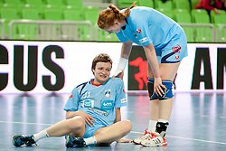 Katja Cerenjak and Lina Krhlikar of Slovenia during handball match between Women National Teams of Slovenia and Czech Republic of 4th Round of EURO 2012 Qualifications, on March 25, 2012, in Arena Stozice, Ljubljana, Slovenia. (Photo by Urban Urbanc / Sportida.com)