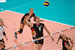 06.09.2013, Gery Weber Stadion, Halle, GER, Volleyball EM 2013, Deutschland vs Spanien, im Bild,, Angriff Corina Ssuschke-Voigt (#9 GER) // during the volleyball european championchip match between Germany and Spain at the Gery Weber Stadion in Halle, Germany on 2013/09/06. EXPA Pictures © 2013, PhotoCredit: EXPA/ Eibner/ Kurth<br /> <br /> ***** ATTENTION - OUT OF GER *****