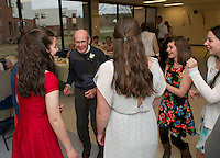 Bud Caswell, Emily Hanf, Statton Coleman, Katie Gingrich and Bridget Eldridge take to the dance floor during Gilford High School's Senior Senior dance on Wednesday evening.  (Karen Bobotas/for the Laconia Daily Sun)