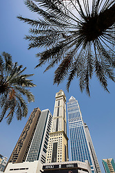 View of modern skyscrapers on Sheikh Zayed Road in Dubai United Arab Emirates