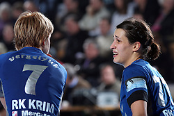 Maryna Vergeliuk and Andrea Lekic at EHF Champions league handball match in Group II between RK Krim Mercator and Gyori Audi Eto KC, on February 7, 2009, in Kodeljevo, Ljubljana, Slovenia. Gyori won 35:31. (Photo by Vid Ponikvar / Sportida)