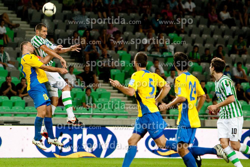 Sebastjan Gobec #18 of Celje during football match between NK Olimpija and NK Celje in 6th Round of Prva liga NZS 2012/13, on August 18, 2012 in SRC Stozice, Slovenia. (Photo by Urban Urbanc / Sportida.com)