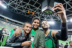 Devin Oliver of Petrol Olimpija making selfie with young fans friendly basketball match between KK Petrol Olimpija and BC Fenerbahce Dogus Istanbul, at Arena Stozice, Ljubljana, Slovenia on September 25, 2017. Photo by Vid Ponikvar / Sportida