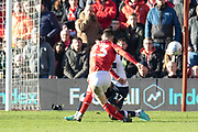 Joe Lolley has a shot during the EFL Sky Bet Championship match between Nottingham Forest and Luton Town at the City Ground, Nottingham, England on 19 January 2020.