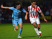 Danny Haynes on the attack during the Sky Bet League 2 match between Cheltenham Town and Cambridge United at Whaddon Road, Cheltenham, England on 14 April 2015. Photo by Alan Franklin.