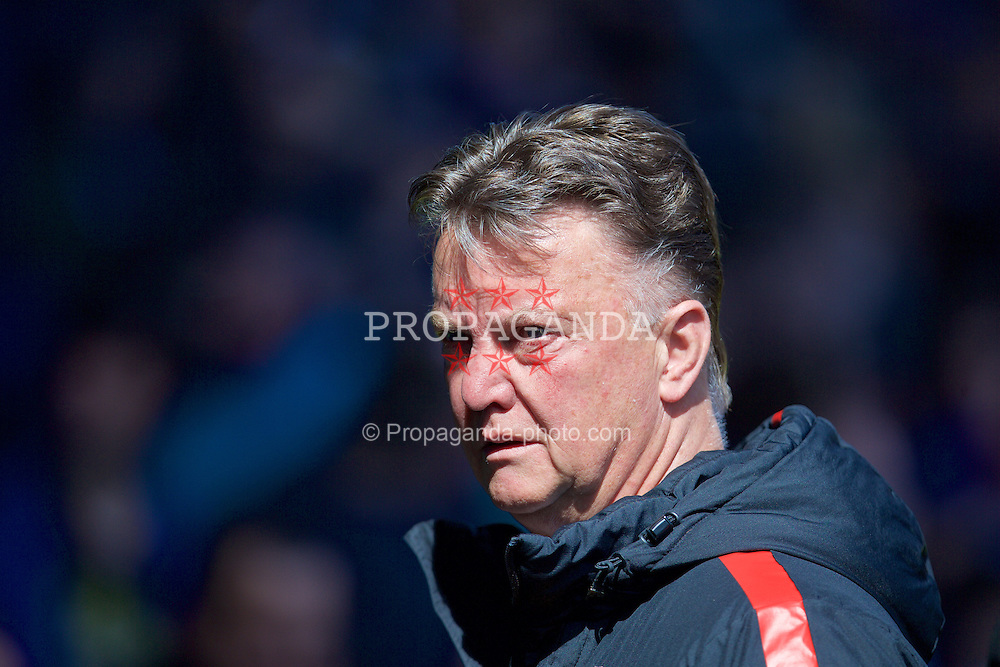 LIVERPOOL, ENGLAND - Sunday, April 26, 2015: Manchester United's manager Louis van Gaal before the Premier League match against Everton at Goodison Park. (Pic by David Rawcliffe/Propaganda)
