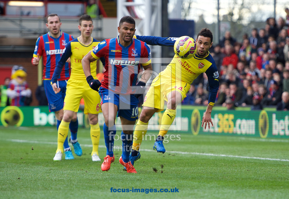 Fraizer Campbell of Crystal Palace and Francis Coquelin  of Arsenal during the Barclays Premier League match at Selhurst Park, London<br /> Picture by Alan Stanford/Focus Images Ltd +44 7915 056117<br /> 21/02/2015