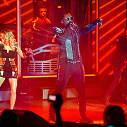 "COLUMBIA, MD - June 9th, 2011: Fergie, Will.I.Am and Taboo of the Grammy Award-wining hip-hop group The Black Eyed Peas perform at Merriweather Post Pavilion in Columbia, MD. The group recently released the single ""Don't Stop The Party"" from their sixth studio album, The Beginning. (Photo by Kyle Gustafson/For The Washington Post)"