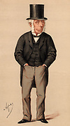 Beer'. Michael Thomas Bass (1799-1884), English brewer and politician, grandson of the founder of Bass' brewery at Burton-on-Trent, Staffordshire. Liberal Member of Parliament for Derby (1843-1883). Did much to bring about improvement of working and living conditions for workers. Cartoon by 'Ape' (Carlo Pellegrini - 1838-1889) from 'Vanity Fair' (London, 20 May 1871).  Chromolithograph.