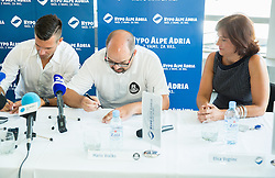 Sani Becirovic, Mario Vracko and Elica Vogrinc during press conference after Sani Becirovic, Slovenian Basketball player ended his a long and successful career and started as Coach Assistant in Panathinaikos, on July 22, 2015 in Ljubljana, Slovenia. Photo by Vid Ponikvar / Sportida