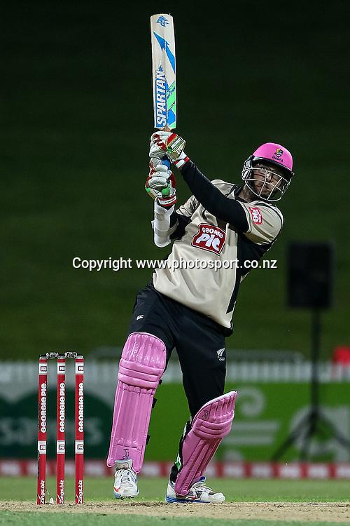 North Island's Daniel Vettori batting during the Island of Origin T20 cricket game - North v South, 31 October 2014 played at Seddon Park, Hamilton, New Zealand on Friday 31 October 2014.  Photo: Bruce Lim / www.photosport.co.nz