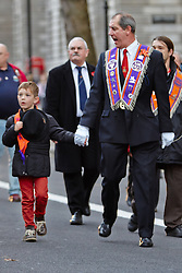 © Licensed to London News Pictures.  10/11/2012. LONDON, UK. Members of the Orange Order London District march past the Cenotaph on Whitehall as part of their annual remembrance parade. Photo credit :  Cliff Hide/LNP