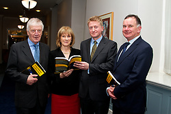 Using Evidence to Inform Policy.<br /> Edited by Pete Lunn &amp; Frances Ruane<br /> Using Evidence to Inform Policy will be launched by Taoiseach Enda Kenny on 27 November in Government Buildings. <br /> <br /> Pictured at the launch <br /> L to R) <br /> Prof Frances Ruane (Director, ESRI and co-editor)<br /> Dr TK Whitaker, <br /> Dr Pete Lunn (co-editor)<br /> <br /> <br /> <br /> The book, edited by economist, author and former BBC journalist Pete Lunn and the Director of the ESRI Frances Ruane, is a unique examination of how evidence can be used to improve policymaking, especially in challenging times.<br /> The fallout from the recent Budget has emphasised the need for transparency in policy decisions. Research and evidence can help to provide this transparency, and Using Evidence to Inform Policy outlines how. However, the book also demonstrates the complexity of the relationship between evidence and policy, arguing that in most cases good policy cannot be determined by evidence alone.<br /> About the book: Using Evidence to Inform Policy demonstrates the breadth and value of the contribution that evidence can make to policy. It presents eleven studies drawn from recent ESRI research projects, illustrating different aspects of the relationship between evidence and policy, and how these vary by policy area.<br /> The theme of how evidence can influence policy is examined in a wide range of areas, including the economy, public infrastructure, innovation, competition, the labour market, financial regulation, healthcare, housing, education, government spending, public services and earnings. <br /> Each chapter tackles a question that&rsquo;s relevant to policymaking in Ireland now, for example, how to protect consumers of financial services; what is the Irish public&rsquo;s perception of public services and their implications for public sector reform?; how to explain changes in earnings and labour costs during the recession; what is the evidence for providing economic security through competition and regulatory policy?; do active labour market policies activate?; how