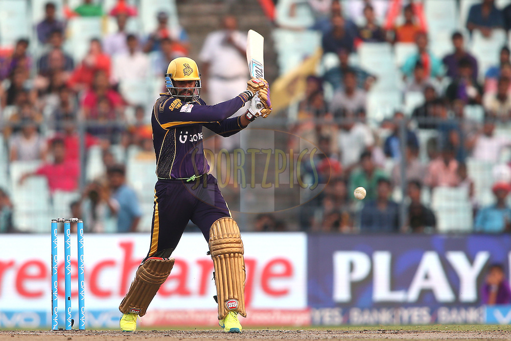 Yusuf Pathan of Kolkata Knight Riders attacks a delivery during match 55 of the Vivo Indian Premier League (IPL) 2016 between the Kolkata Knight Riders and the Sunrisers Hyderabad held at the Eden Gardens Stadium in Kolkata on the 22nd May 2016<br /> <br /> Photo by Shaun Roy / IPL/ SPORTZPICS