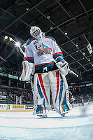 KELOWNA, CANADA - MARCH 4: Michael Herringer #30 of the Kelowna Rockets stretches his neck on the ice against the Tri-City Americans on March 4, 2017 at Prospera Place in Kelowna, British Columbia, Canada.  (Photo by Marissa Baecker/Shoot the Breeze)  *** Local Caption ***