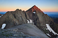 Sunrise begins to strike the less familiar eastern face of Mount Sneffels 14,150ft outside of Ouray, Colorado.