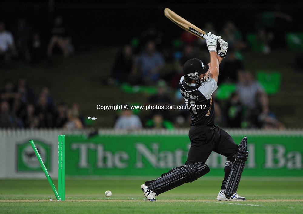Colin de Grandhomme is bowled during the 2nd Twenty20 InternationaI cricket match between New Zealand and Zimbabwe at Seddon Park in Hamilton, New Zealand on Tuesday 14 February 2012. Photo: Andrew Cornaga/Photosport.co.nz