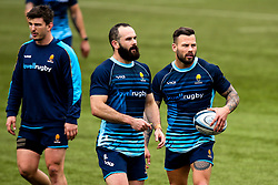 Jono Lance and Francois Hougaard of Worcester Warriors during training ahead of the Premiership Rugby fixture against Bristol Bears - Mandatory by-line: Robbie Stephenson/JMP - 21/03/2019 - RUGBY - Sixways Stadium - Worcester, United Kingdom - Worcester Warriors Training