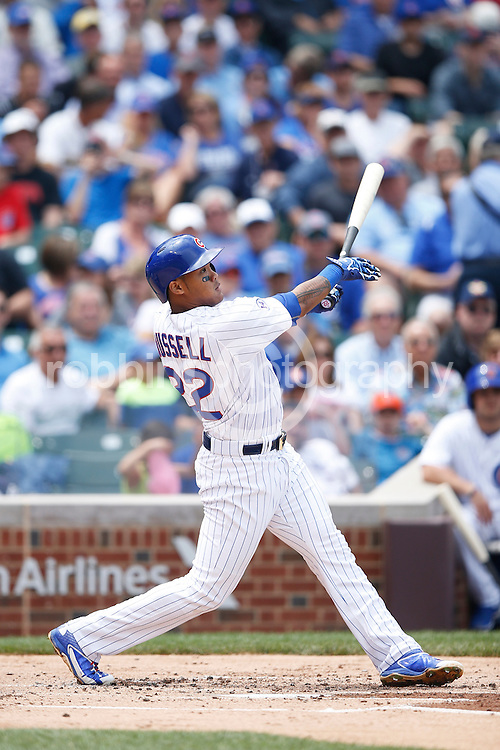 CHICAGO, IL - JUNE 25: Addison Russell #22 of the Chicago Cubs bats during the game against the Los Angeles Dodgers at Wrigley Field on June 25, 2015 in Chicago, Illinois. The Dodgers defeated the Cubs 4-0. (Photo by Joe Robbins) *** Local Caption *** Addison Russell