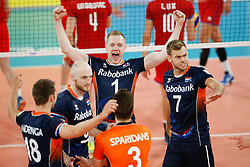 20170617 NED: FIVB Volleybal World League 2017 The Netherlands - Slovakia: Den Haag <br />Daan van Haarlem (1) of The Netherlands, Gijs Jorna (7) of The Netherlands <br />&copy;2017-FotoHoogendoorn.nl / Pim Waslander