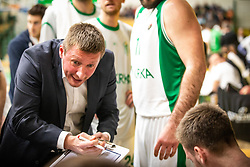 Jure Petrov head coach of KK Krka Novo mesto, during the basketball match of Nova KBM League between KK Petrol Olimpija Ljubljana and KK Krka Novo mesto, on February 27, 2019, in Novo mesto, Slovenia. Photo by Urban Meglic / Sportida