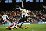 Fulham striker, Moussa Dembele (25) on the attack during the Sky Bet Championship match between Fulham and Charlton Athletic at Craven Cottage, London, England on 20 February 2016. Photo by Matthew Redman.