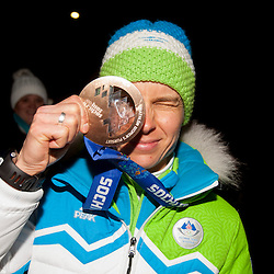 20140220: SLO, Biathlon - Reception of bronze medalist Teja Gregorin after Sochi Olympic Games