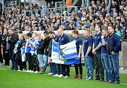 Family and friends of Ben Hiscox, local footballer who tragically passed away earlier in the week - Photo mandatory by-line: Neil Brookman/JMP - Mobile: 07966 386802 - 03/04/2015 - SPORT - Football - Bristol - Memorial Stadium - Bristol Rovers v Chester - Vanarama Football Conference