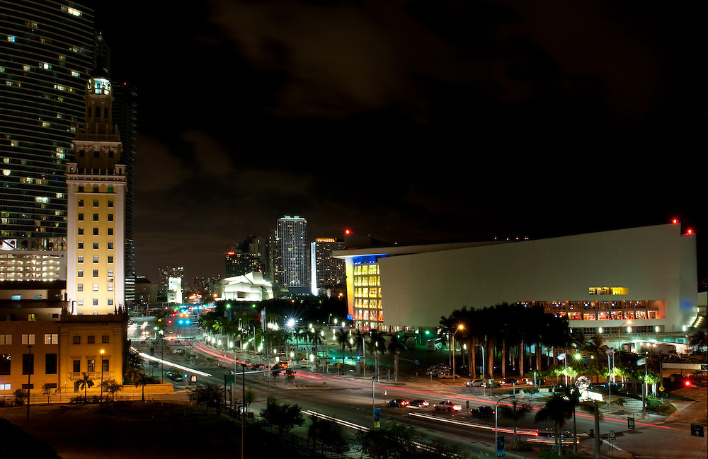 View of Biscayne Bulevard at night with Arena and Freedom Tower.