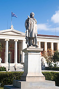 Statue of William Ewart Gladstone at the National and Kapodistrian University of Athens, part of the architectural trilogy designed by Danish architect Theopil Hansen, Athens, Greece