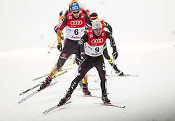 18.01.2014, Casino Arena, Seefeld, AUT, FIS Weltcup Nordische Kombination, Seefeld Triple, Langlauf, im Bild Bryan Fletcher (USA) vor Tino Edelmann (GER) // Bryan Fletcher (USA) in front of Tino Edelmann (GER) during Cross Country at FIS Nordic Combined World Cup Triple at the Casino Arena in Seefeld, Austria on 2014/01/18. EXPA Pictures © 2014, PhotoCredit: EXPA/ JFK