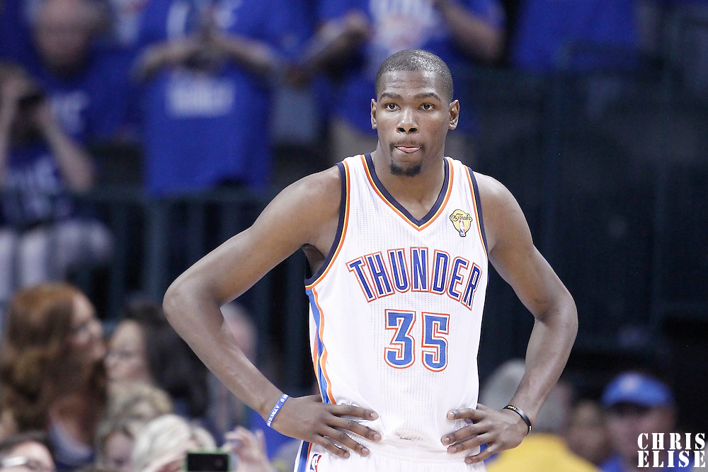 12 June 2012: Oklahoma City Thunder small forward Kevin Durant (35) rests during the Oklahoma City Thunder 105-94 victory over the Miami Heat, in Game 1 of the 2012 NBA Finals, at the Chesapeake Energy Arena, Oklahoma City, Oklahoma, USA.