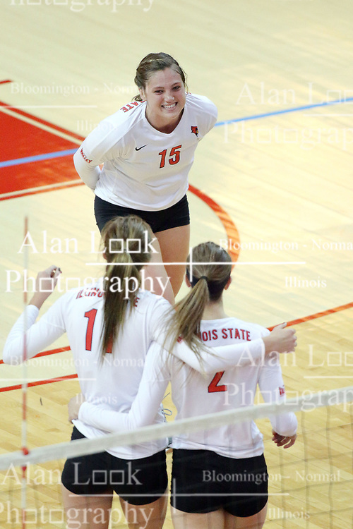 17 October 2014:  Ashley Rosch, Eliza Smith & Jaelyn Keene during an NCAA Missouri Valley Conference (MVC) womens volleyball match between the Northern Iowa Panthers and the Illinois State Redbirds for 1st place in the conference at Redbird Arena in Normal IL