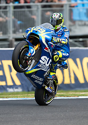 October 21, 2017 - Melbourne, Victoria, Australia - Italian rider Andrea Iannone (#29) of Team SUZUKI ECSTAR does a wheelie after the second qualifying practice session at the 2017 Australian MotoGP at Phillip Island, Australia. (Credit Image: © Theo Karanikos via ZUMA Wire)