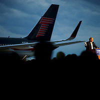 YOUNGSTOWN, OH - March 14, 2016.  Donald Trump holds a rally at Youngstown Airport - Winner Aviation in Youngstown, OH, March 14, 2016.  Five states go to the polls tomorrow, including the winner take all Ohio, with 143 delegates for the Democrats, and 66 delegates for the Republicans.  CREDIT: Mark Makela for The New York Times