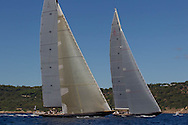 FRANCE, St Tropez. 30th September 2013. Voiles de St Tropez. Lionheart (H1) (left) and Velsheda, K7.