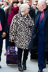 Actress Tina Malone, wearing an animal print fake fur coat, leaves the High Court in London after receiving an 8 month suspended sentence for contempt of court after posting information about Jamie Bulger's killer Jon Venables on social media . London, March 13 2019.