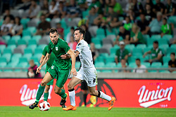 Dino Stiglec of NK Olimpija Ljubljana and Declan Caddell of FC Crausaders during 1st Leg football match between NK Olimpija Ljubljana and FC Crausaders in 2nd Qualifying Round of UEFA Europa League 2018/19, on July 26, 2018 in SRC Stozice, Ljubljana, Slovenia. Photo by Urban Urbanc / Sportida