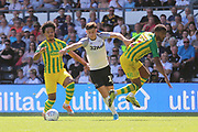 Derby County forward Tom Lawrence (10) during the EFL Sky Bet Championship match between Derby County and West Bromwich Albion at the Pride Park, Derby, England on 24 August 2019.