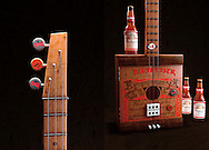 Budweiser Box Guitar and Bottles.