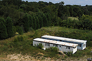 Two mobile homes, apparently abandoned, in the Iredell County, NC countryside
