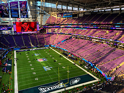 A general view of the US Bank Stadium ahead Superbowl 52. PRESS ASSOCIATION Photo. Picture date: Sunday February 4, 2018. Photo credit should read: Liam Blackburn/PA Wire. RESTRICTIONS: Editorial use only, No commercial use without prior permission.