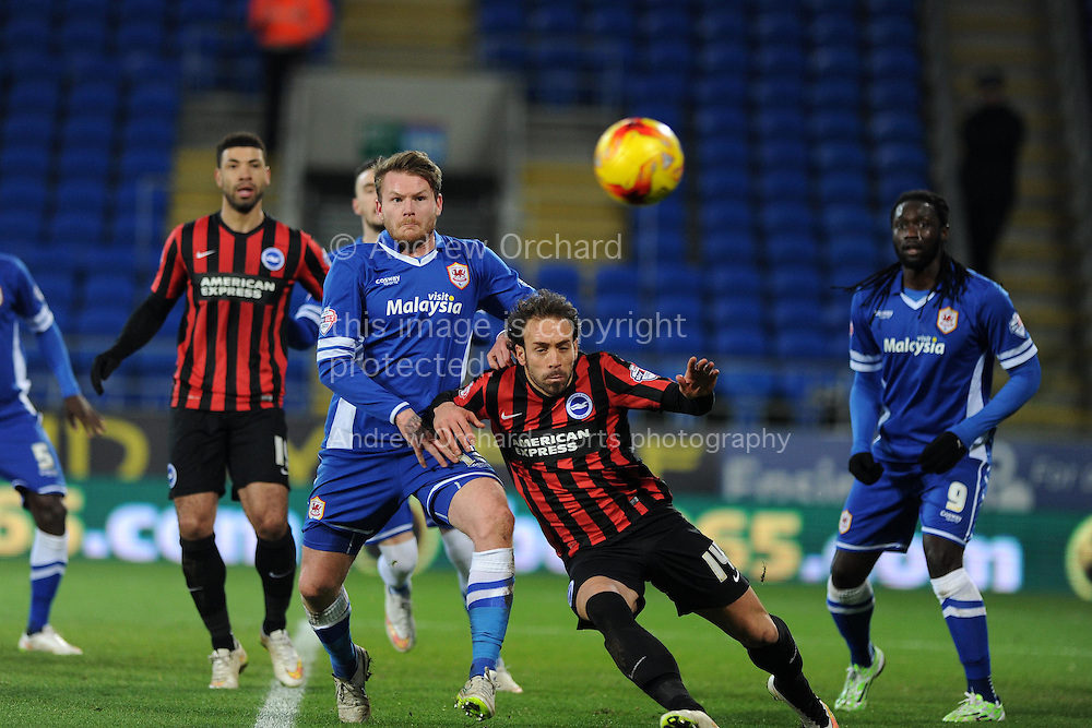 Cardiff city's Aron Gunnarsson &copy; holds off Brighton's Inigo Calderon (14). Skybet football league championship match, Cardiff city v Brighton &amp; Hove Albion at the Cardiff city Stadium in Cardiff, South Wales on Tuesday 10th Feb 2015.<br /> pic by Andrew Orchard, Andrew Orchard sports photography.