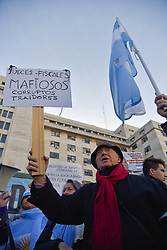 Government supporters gathering near the Comodoro Py courthouse to call federal judges to accelerate corruption probe in which involved former Argentine government in Buenos Aires, Argentina.