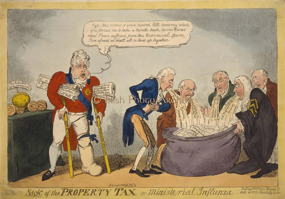 Sick of the property tax or ministerial influnza': Prince Regent (later George IV) gouty  and on crutches labelled 'More Money', and 'Increase in Income, and holding documents naming his extravagant expenses, hobbles towards his ministers who are vomiting new taxes into a sack labelled Budget. Cartoon 1816.