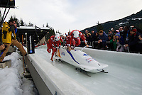 The Canadian team of Pierre Lueders, Ken Kotyk, David Bissett and Justin Kripps compete in the Mens' four-person bobsleigh World Cup competition held at the Whistler Sliding Centre on Feb 7, 2009
