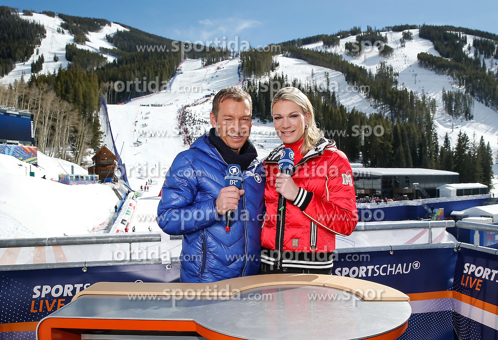 14.02.2015, Birds of Prey, Beaver Creek, USA, FIS Weltmeisterschaften Ski Alpin, Vail Beaver Creek 2015, Damen, Slalom, im Bild ARD Sportschau Moderator Markus Othmer und Maria H&ouml;fl-Risch // German Sportschau Moderator Markus Othmer and former German Skiracer Maria H&ouml;fl-Risch during the ladie's Slalom of FIS Ski World Championships 2015 at the Birds of Prey in Beaver Creek, United States on 2015/02/14. EXPA Pictures &copy; 2015, PhotoCredit: EXPA/ SM<br /> <br /> *****ATTENTION - OUT of GER*****