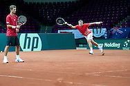 (L) Mariusz Fyrstenberg and (R) Marcin Matkowski of Poland during training session three days before the BNP Paribas Davis Cup 2013 between Poland and Australia at Torwar Hall in Warsaw on September 10, 2013.<br /> <br /> Poland, Warsaw, September 10, 2013<br /> <br /> Picture also available in RAW (NEF) or TIFF format on special request.<br /> <br /> For editorial use only. Any commercial or promotional use requires permission.<br /> <br /> Photo by © Adam Nurkiewicz / Mediasport