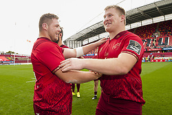 September 30, 2017 - Limerick, Ireland - Liam O'Connor and John Ryan of Munster celebrate during the Guinness PRO14 Conference A Round 5 match between Munster Rugby and Cardiff Blues at Thomond Park in Limerick, Ireland on September 30, 2017  (Credit Image: © Andrew Surma/NurPhoto via ZUMA Press)