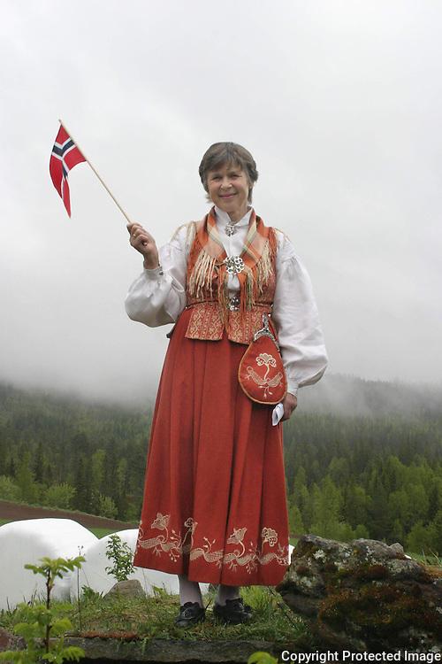 Ingebjørg Aunsmo, vert for grenda, Øverbygda i Snåsa. 17. mai. Nord-Trønder-bunad.